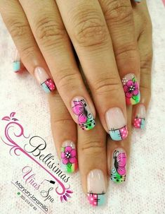 flores uñas Dope Nails, My Nails, Spring Nails, Summer Nails, Dope Nail Designs, Hello Kitty Images, Nail Art Images, Manicure E Pedicure, Beauty Spa