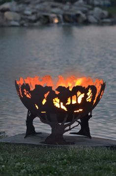 Forest Fire Custom Steel Fire Pit by TheFirePitGallery on Etsy, $1060.00