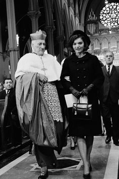 January 19, 1964.  Jackie Kennedy at a John F. Kennedy Memorial Mass with Cardinal Richard J. Cushing at Cathedral of the Holy Cross in Boston, Massachusetts.