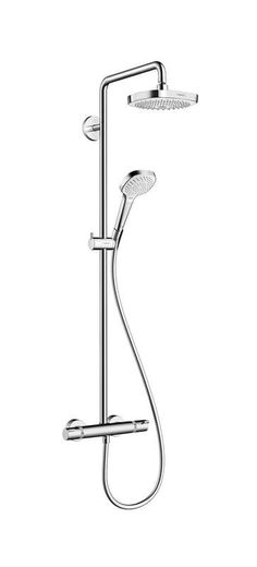 Hansgrohe 27257 Croma Shower Package With Exposed Installation Pipe Shower Head Chrome Faucet Shower System Double Handle Bathroom Shower Panels, Shower Fixtures, Shower Arm, Rain Shower, Shower Faucet, Bathroom Faucets, Shower Plumbing, Master Shower, Plumbing Pipe
