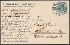 """Germany, German Empire, Airmail 19. 5. 1912, """"MANNHEIM-HEIDELBERG"""", officially card, to Offenbach used (cover. ). Price Estimate (8/2016): 30 EUR. Unsold."""