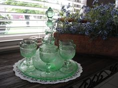 Vintage TIARA Sandwich Glass Decanter Tray 6 Cordail Glasses Chantilly Green