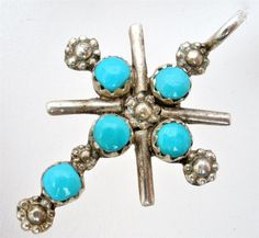 Vintage Sterling Silver Turquoise Cross by TheJewelryLadysStore, $58.00