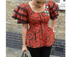 The Uriella African print blouse