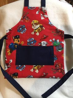 handmade   paw patrol  bib apron with pocket   3-4 years for