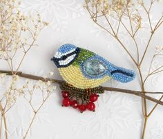 Blue tit - winter bird - brooch, beadembroidery, bead embroidery, beadweaving