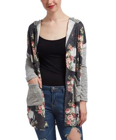 Love this Black & Gray Skull Rose Hooded Cardigan on #zulily! #zulilyfinds