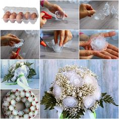 How to Make Plastic Flower Bouquet from Egg Box | www.FabArtDIY.com