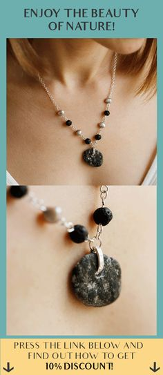 Beach stone, lava beads and pearls on sterling silver chain.