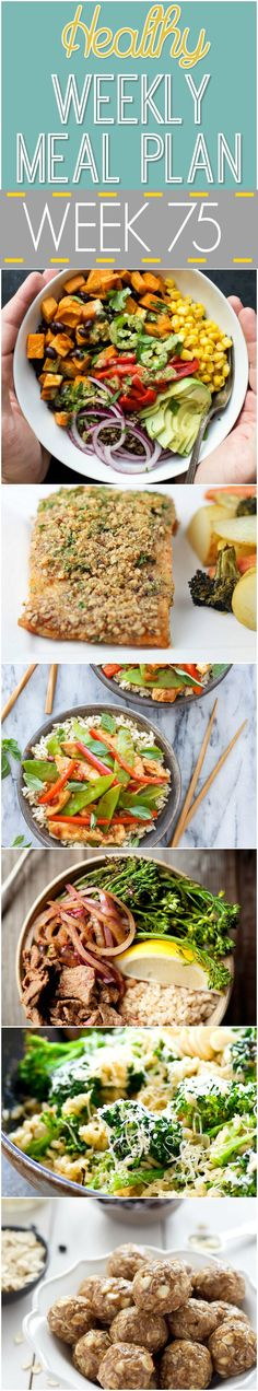 A delicious mix of healthy entrees, snacks and sides make up this Healthy Weekly Meal Plan #75 for an easy week of nutritious meals your family will love! #Healthy #Menu #MealPlan