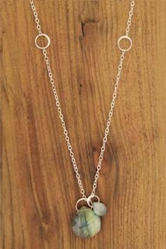 Melissa Joy Manning: labradorite and cat's eye silver necklace - 18 Inches