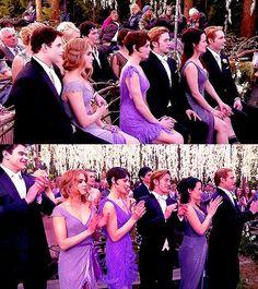 Emmett, Rosalie, Alice, Jasper, Esme, Carlisle at Edward and Bella's wedding in breaking dawn