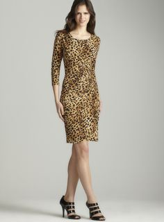 3/4 Sleeve Dress In Leopard  calvin Klein
