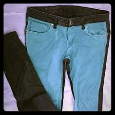 Skinny colorblock jeans Stylish color block skinny jeans, teal panel in front and black in back. Great for pairing with dark boots to stand out from the crowd. Size 5/6. Well loved, but has lots of life left! No damages or worn-out patches. Rue 21 Jeans Skinny