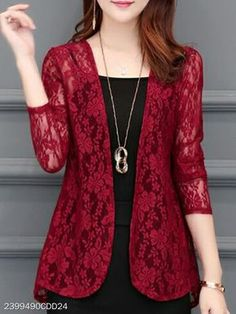 See-Through Floral Plain Long Sleeve Cardigans - Herren- und Damenmode - Kleidung Cheap Womens Tops, Cardigan Fashion, Cardigan Outfits, Dress Outfits, Fall Outfits, Trendy Tops, Trendy Style, Stylish Tops, Blazer Outfits