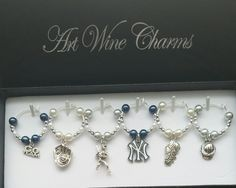 6 New York Yankees Baseball themed Wine Charms, Baseball, MLB, Team Colors, Thank You,Gift, Coach, Themed Party, Party Favors,Gifts under 20 by PickinsGalore on Etsy