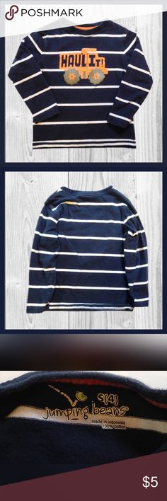 JUMPING BEANS Little Boy Shirt Gently used JUMPING BEANS little boy long sleeve shirt; There's a little cracking in the picture on the front of the shirt.; Size 4   ^^^^^BUNDLE AND SAVE^^^^^^^^ Jumping Beans Shirts & Tops Tees - Long Sleeve