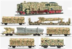 Armored train as rocket Transport Set ' Wehrmacht , 1944 Fleischmann Ho, Afrika Corps, Railway Gun, Escala Ho, Military Drawings, German Soldiers Ww2, Rail Car, Train Pictures, Model Train Layouts