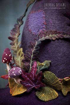 Lalabug designs #felting Needle Felted Animals, Felt Animals, Needle Felting Tutorials, Felt Fairy, Textiles, Fairy Clothes, Wool Art, Felt Hat, Nuno Felting