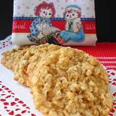 """Raggedy Ann Cookies by Vonieta Stogner. """"A soft chewy cookie that is good in picnic lunches, afternoon tea or served with a tall cold glass of lemonade."""""""