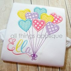 Heart Balloons Bean Satin Stitch Applique - 4 Sizes! | What's New | Machine Embroidery Designs | SWAKembroidery.com All Things Applique