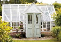 Bilderesultat for drivhus diy Rustic Greenhouses, Orangery Conservatory, Greenhouse Shed, Hanging Canvas, White Doors, Helsingborg, Permaculture, Amazing Gardens, Garden Inspiration