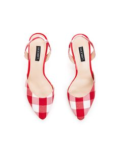 Karen red check slingback