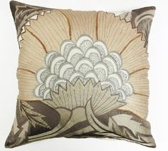 "Purple Pollen Pillow (Ivory,Taupe,Brown) 22""x22"" - Sabira Collection"