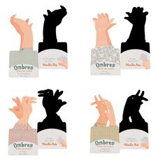 Moulin Roty - Hand Shadow Puppets - Moulin Roty - Brands I would love this to expand my hand puppet repertoire from just 'duck' Shadow Art, Shadow Play, Shadow Puppets With Hands, Hand Shadows, Child Teaching, Cut Out Shapes, And So The Adventure Begins, Hand Puppets, Pretty Dolls
