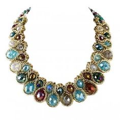 Colar Feminino Gold Color Alloy Chain Colorful Imitation Crystal Choker Necklace for Women
