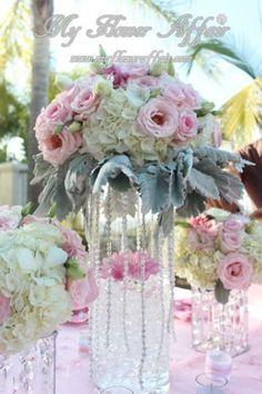 Pink wedding flowers by My Flower Affair. www.myfloweraffair.com