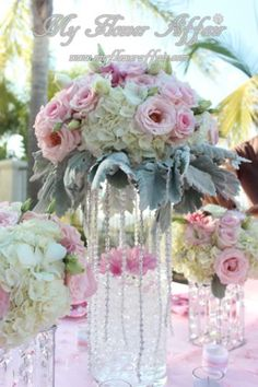 Pink wedding flowers by My Flower Affair. www.myfloweraffair.com
