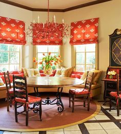 (Tie in the the fabric of the banquette into the window treatment. —Barbara Fina) Smart, Beautiful Kitchen Banquettes - Traditional Home® Decor, Beautiful Kitchens, Warm Color Schemes, French Country Decorating, Country Decor, Kitchen Window Treatments, Breakfast Room, Warm Colors, Home Decor