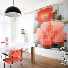 Patchwork Flower pixelated wall art.