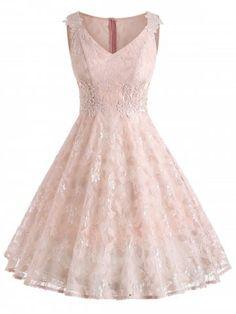 Light Pink Vintage Style V Neck Floral Lace A Line Dress – Mod and Retro Clothing Flowy Prom Dresses, Semi Dresses, Lace Summer Dresses, Straps Prom Dresses, Homecoming Dresses, Cute Dresses, Formal Dresses, Pink Dresses For Kids, Rosa Style