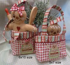 Gingerbread Combo Set | Oma's Place Embroidery pattern to purchase, but can easily be made without one.
