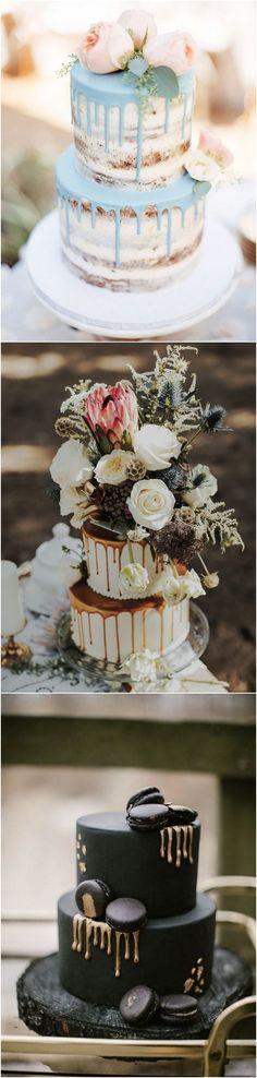 wedding cake trends and ideas - drip wedding cake ideas Small Wedding Cakes, Wedding Sweets, Themed Wedding Cakes, Wedding Table Flowers, Wedding Cake Rustic, Elegant Wedding Cakes, Cupcake Party, Cupcake Cakes, Rustic Cupcakes