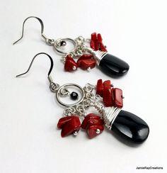Red and Black Boho Chandelier Earrings Deep by JamieRayCreations
