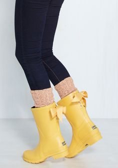 Good to the Last Raindrop Rain Boot in Rubber Duck - Yellow, Solid, Bows, Casual, Variation, Spring, Lounge, Rainboots