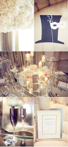 Mirrored tables and Lucite chairs... swoon!
