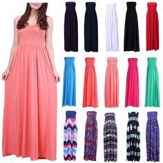 a063a68e7e Women's Strapless Maxi Dress Plus Size Tube Top Long Skirt Sundress Cover  Up #HDE #