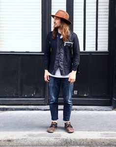 iqfashion:  Isaac Larose. Isaac is wearing a brown Larose hat, a patch-worked TAKAHIROMIYASHITATheSoloIst. shirt, some vintage cut-off jeans, and a pair of Birkenstock Montana natural leather sandals. Source: highsnobiety.com