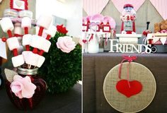 cute, cute , CUTE V-Day party-lots of grocery store items used in great ways