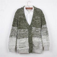 Funshop Woman's Gradient Stripe Pattern V Neck Sweater Cardigan 081238 Color Green