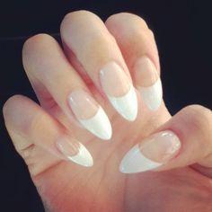 White tip stilettos nails
