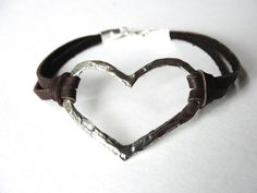 Hey, I found this really awesome Etsy listing at https://www.etsy.com/listing/169903949/heart-bracelet-leather-bracelet-sterling