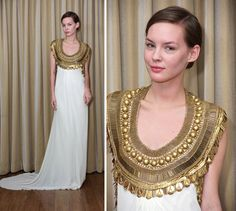 the egyptian dress Designer Prom Dresses, Cheap Prom Dresses, Stylish Dresses, Bridal Dresses, Egyptian Wedding Dress, Egyptian Dresses, Egyptian Fashion, Egyptian Era, Egyptian Goddess