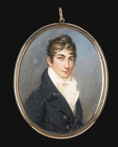 William Essex 1784 - 1869 - PORTRAIT OF ISAAC COHEN (D. 1846) - enamel, silver-gilt frame, red leather case; signed and inscribed verso: In memory / of Isaac Cohen . Obt 10 Janry 1846 / aet: 53 / W. Essex. I.