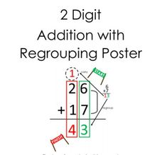 2 Digit Addition with regrouping Poster by Miss P Elementary Tens Place, Type Posters, Coach Me, Basic Math, Vocabulary Words, First Grade, Outline, Banner, Teaching