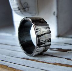 Mens Wedding Band Fine Silver and 14k White by HotRoxCustomJewelry